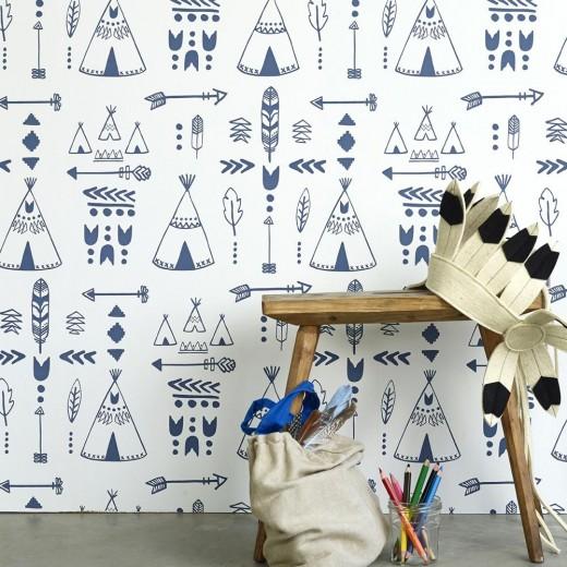 PapelesPintadosyTelas_Hibou_Home_Teepees_wallpaper_Indigo_White_Inspiration